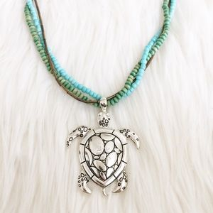 Jewelry - Silver Beaded Turtle Necklace